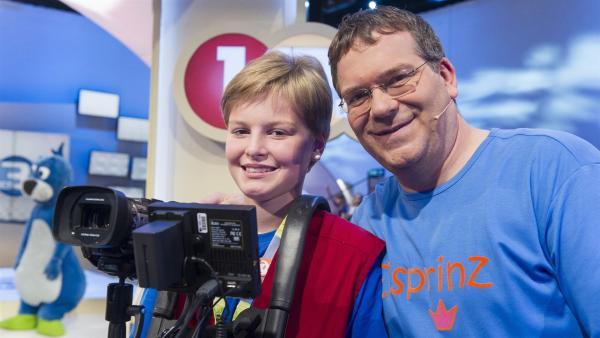 Elton und Kamerakind Hannah aus Ibbenbüren/Deutschland | Rechte: ZDF/Ralf Wilschewski