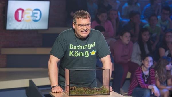 Elton hat Respekt vor den kleinen Pfeilgiftfröschen im Terrarium. | Rechte: ZDF und Ralf Wilschewski