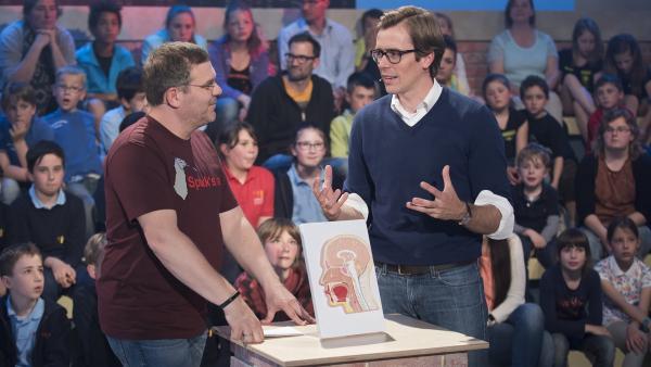 Studiogast und Mediziner Dr. Johannes Wimmer (re.) erklärt Elton (li.), warum Speichel ein wahrer Wundersaft ist.   Rechte: ZDF/Ralf Wilschewski