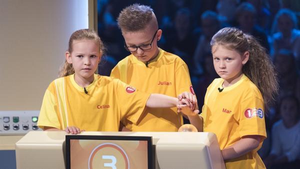 Jede richtige Antwort rückt den Tagessieg in greifbare Nähe: Das Team aus Jerzens/Österreich wartet aufmerksam auf die nächste Frage. | Rechte: ZDF/Ralf Wilschewski