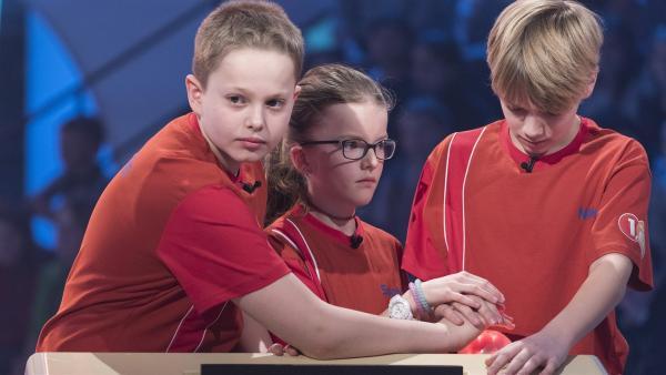 Die Kandidaten aus Helmsange/Luxemburg wollen in der Buzzer-Runde abräumen. | Rechte: ZDF/Ralf Wilschewski
