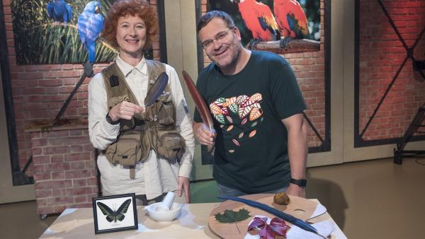 Elton und die Physik-Professorin Ille Gebeshuber zeigen in der heutigen Ausgabe von 1, 2 oder 3 den Farbenreichtum der Natur. | Rechte: ZDF/Dorothee Falke