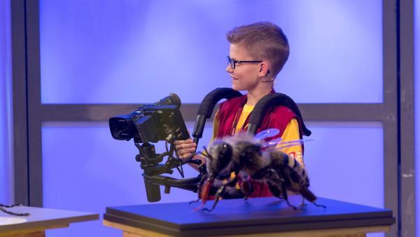 Kamerakind David aus Lochau/Österreich schaut sich nach der nächsten Drehgelegenheit um.   Rechte: ZDF/Ralf Wilschewski