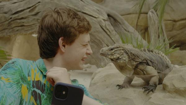 Aaron (Philip Müller) mach sein Selfie mit dem Mini-Dino.   Rechte: KiKA/2021 eitelsonnenschein