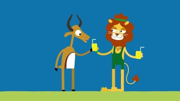 Der Löwe ist ein fairer Gewinner. | Rechte: KiKA/SWR/Studio FILM BILDER/Julia Ocker