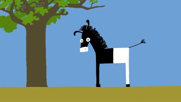 Irgendetwas stimmt nicht mit den Streifen vom Zebra. | Rechte: KiKA/SWR/Film Bilder/Julia Ocker