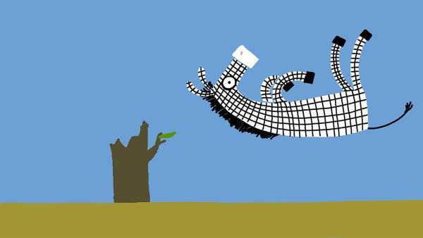 Das Zebra kommt vom Regen in die Traufe. | Rechte: KiKA/SWR/Film Bilder/Julia Ocker