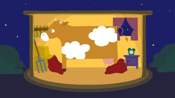 Die Kuh legt sich zum Schlafen nieder. | Rechte: KiKA/SWR/Studio FILM BILDER/Julia Ocker