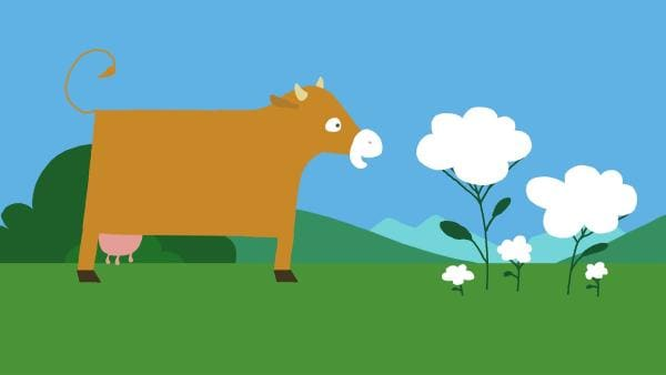 Die Kuh ist auf der Suche nach ihren Flecken. | Rechte: KiKA/SWR/Film Bilder/Julia Ocker