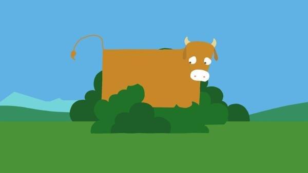 Die Kuh ist traurig, weil ihre Flecken verschwunden sind. | Rechte: KiKA/SWR/Film Bilder/Julia Ocker