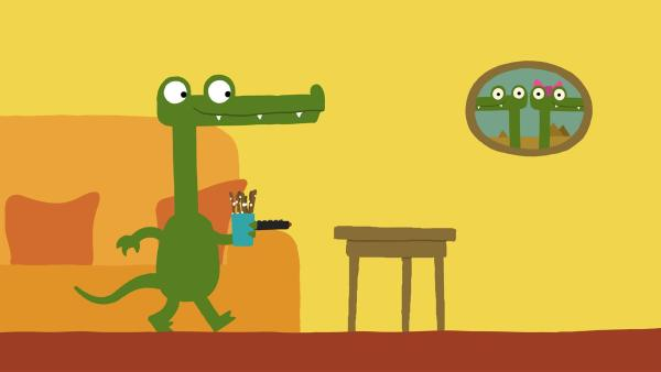 Das Krokodil braucht etwas zum Knabbern.   Rechte: KiKA/SWR/Film Bilder/Julia Ocker