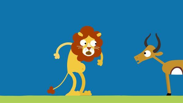 Der Löwe ist total aus der Puste.   Rechte: KiKA/SWR/Film Bilder/Julia Ocker