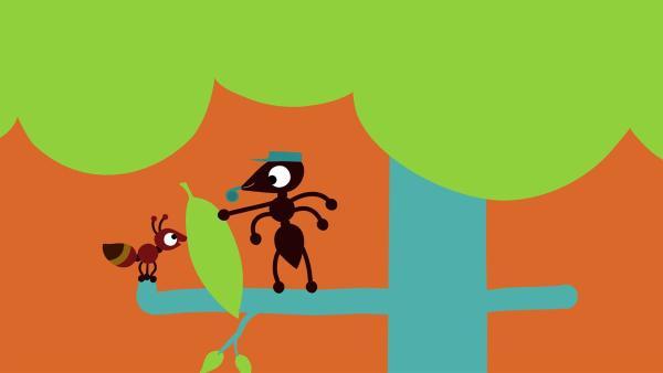 Die kleine Ameise bekommt ihr Arbeitsblatt. | Rechte: KiKA/SWR/Studio FILM BILDER/Julia Ocker