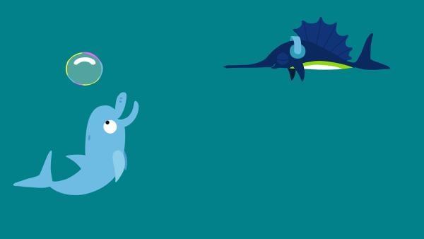 Der Delphin spielt selbstvergessen mit seiner schönen Blase. | Rechte: KiKA/SWR/Film Bilder/Julia Ocker
