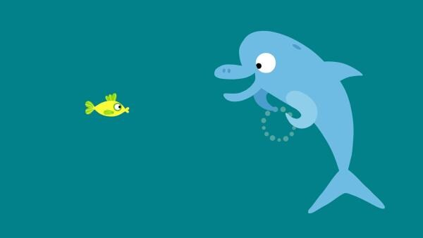 Der Delphin erklärt dem kleinen Fisch, was mit seiner Blase geschehen ist.   Rechte: KiKA/SWR/Film Bilder/Julia Ocker
