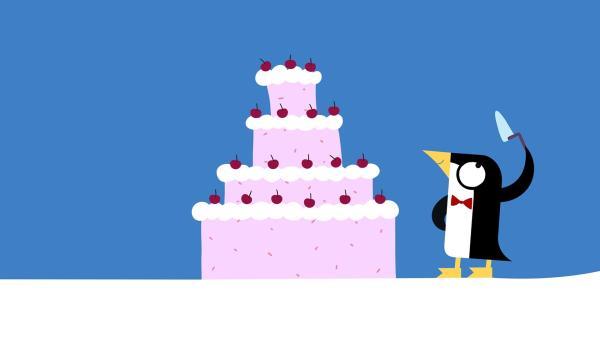 Jetzt wird die Torte angeschnitten. | Rechte: KiKA/SWR/Studio FILM BILDER/Julia Ocker
