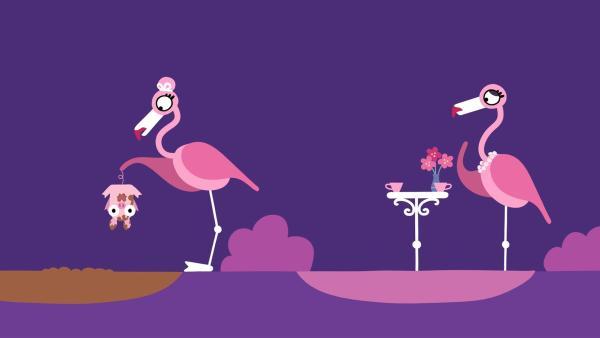 Ein Flamingo entdeckt ein kleines Schweinchen. | Rechte: KiKA/SWR/Film Bilder/Julia Ocker