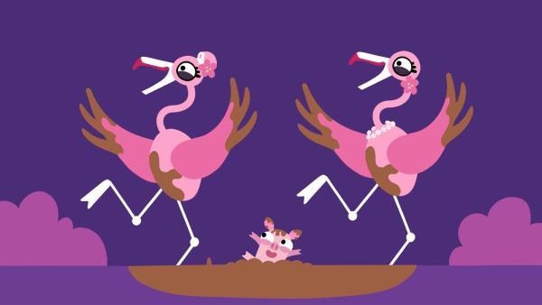 Die Flamingos und das Schweinchen haben großen Spaß. | Rechte: KiKA/SWR/Film Bilder/Julia Ocker