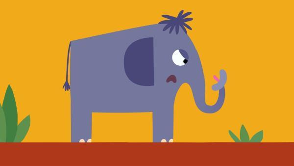Der Elefant ist genervt von seinem singenden Rüssel. | Rechte: KiKA/SWR/Film Bilder/Julia Ocker