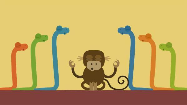 Die Schlangen meditieren zusammen.   Rechte: KiKA/SWR/Film Bilder/Julia Ocker