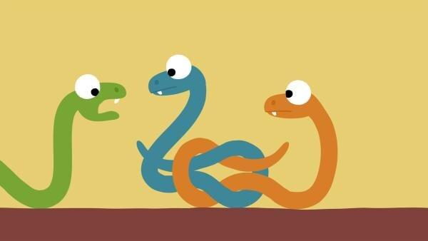 Zwei Schlangen haben sich wild verknotet. | Rechte: KiKA/SWR/Film Bilder/Julia Ocker