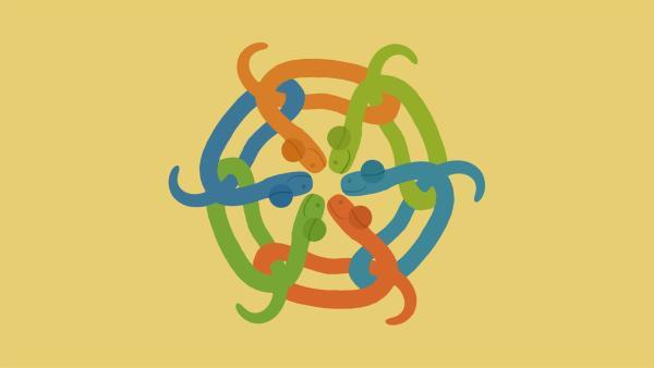 Mit der richtigen Melodie können sich die Schlangen wieder entwirren. | Rechte: KiKA/SWR/Studio FILM BILDER/Julia Ocker