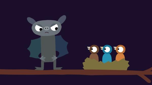 Die Fledermaus muss sich etwas einfallen lassen, damit die Küken endlich ruhig sind. | Rechte: KiKA/SWR/Studio FILM BILDER/Julia Ocker