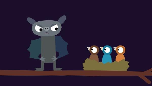 Die Fledermaus muss sich etwas einfallen lassen, damit die Küken endlich ruhig sind. | Rechte: KiKA/SWR/Film Bilder/Julia Ocker