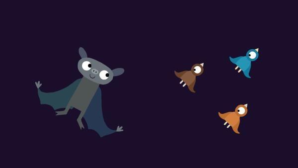 Die Fledermaus bringt den Küken das Fliegen bei. | Rechte: KiKA/SWR/Film Bilder/Julia Ocker