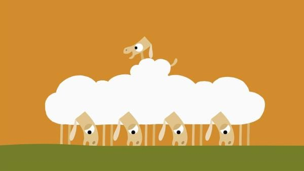 Das kleine Schaf sucht nach einem Abenteuer. | Rechte: KiKA/SWR/Film Bilder/Julia Ocker