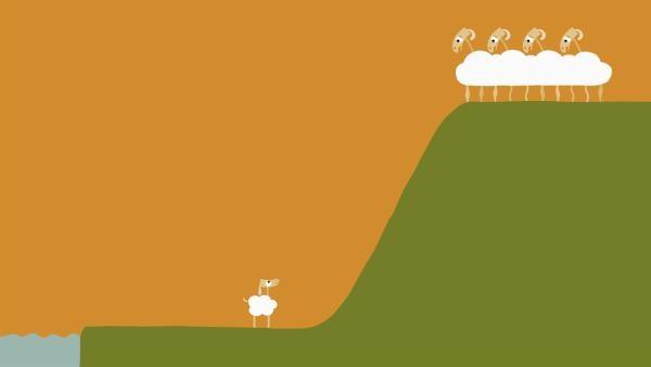 Jetzt ist das kleine Schaf auf sich allein gestellt. | Rechte: KiKA/SWR/Film Bilder/Julia Ocker