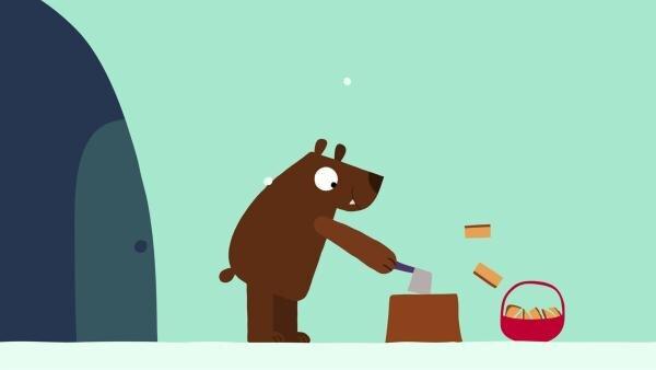 Der Bär bereitet alles für seinen Winterschlaf vor. | Rechte: KiKA/SWR/Film Bilder/Julia Ocker