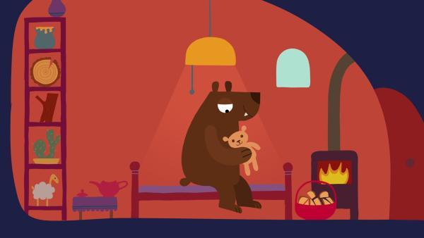 Alles ist vorbereitet. Der Bär kann sich zur Ruhe legen. | Rechte: KiKA/SWR/Film Bilder/Julia Ocker