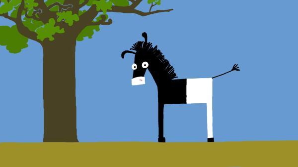 Das Zebra hat seine Streifen verloren. | Rechte: KiKA