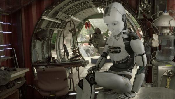 PAL (Millie Davis) prüft die Funktion von seinen Beinen. | Rechte: KiKA/Sinking Ship Entertainment