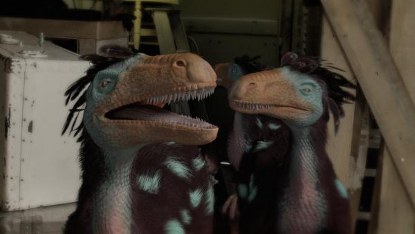 Nun wird Nick im Traum von drei Dromaeosauriern heimgesucht. | Rechte: KiKA/Sinking Ship Entertainment