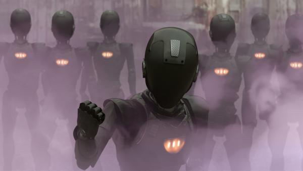 Ada schickt 10 ihrer Roboter auf den Schrottplatz, um sich mit Gewalt zu holen, was sie selbst nicht erschaffen kann: PAL und seine künstliche Intelligenz. | Rechte: KiKA/Sinking Ship Entertainment