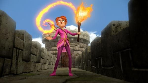 Guinevere bekommt Rat vom Zauberer Merlin, der ihr in Form einer Fackel erscheint. | Rechte: SWR/Blue Spirit Productions/TéléTOON+/Canal+