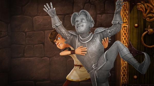Arthurs Freund Gawain ist zu Stein erstarrt. | Rechte: SWR/Blue Spirit Productions/TéléTOON+/Canal+