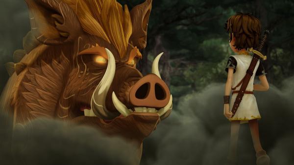 Arthur besänftigt Henwen, das magische Wildschwein. | Rechte: SWR/Blue Spirit Productions/TéléTOON+/Canal+
