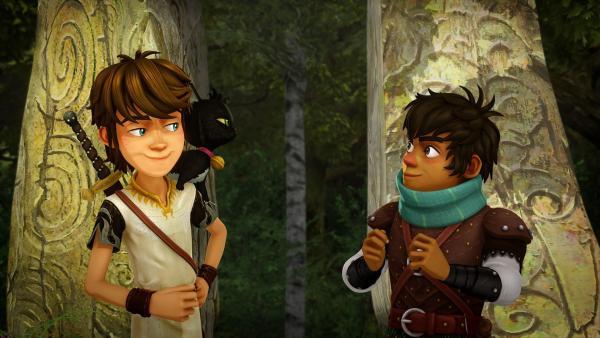 Arthur und sein Freund Sagramor bekommen Unterstützung von der Werwolfkatze Migarou. | Rechte: SWR/Blue Spirit Productions/TéléTOON+/Canal+