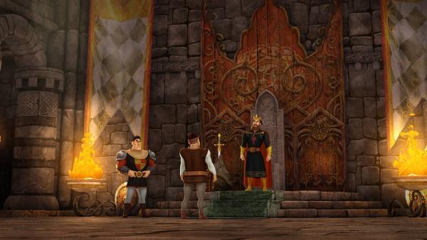 Die Bewohner Britanniens berichten König Uther von einem Drachenwolf, der sie heimsucht. | Rechte: SWR/Blue Spirit Productions/TéléTOON+/Canal+