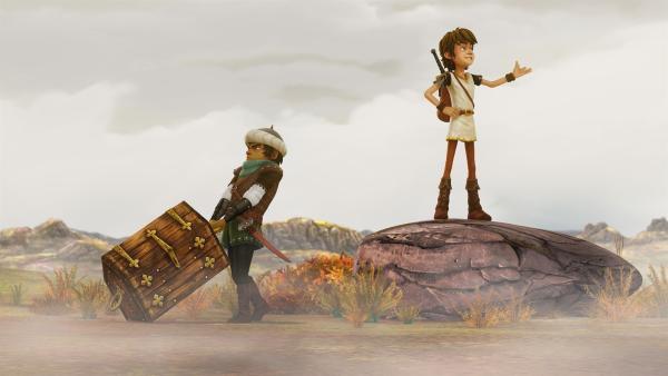Mit einem Schatz wollen Arthur und Sagramor den Drachenwolf anlocken. | Rechte: SWR/Blue Spirit Productions/TéléTOON+/Canal+