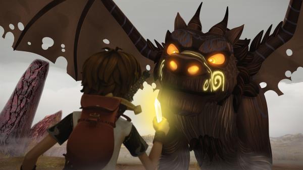 Arthur versucht, den gefährlichen Drachenwolf zu zähmen. | Rechte: SWR/Blue Spirit Productions/TéléTOON+/Canal+