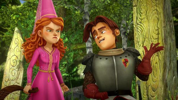 Gawain glaubt Guinevere nicht, dass sie einen Geist gesehen hat. | Rechte: SWR/Blue Spirit Productions/TéléTOON+/Canal+