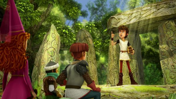 Arthur überzeugt seine Freunde, den Geist auf Schloss Camelot zu suchen. | Rechte: SWR/Blue Spirit Productions/TéléTOON+/Canal+