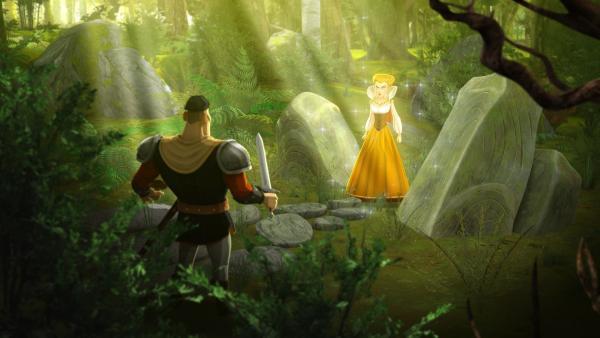 Ulfin entdeckt im Wald eine bezaubernde Prinzessin. | Rechte: SWR/Blue Spirit Productions/TéléTOON+/Canal+