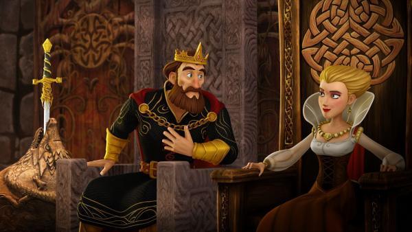 König Uther verfällt der geheimnisvollen Prinzessin von Orcadien.   Rechte: SWR/Blue Spirit Productions/TéléTOON+/Canal+