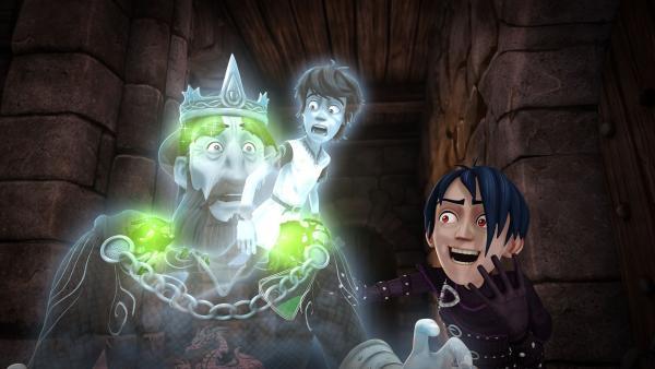 Mordred überrumpelt König Uther und verwandelt ihn in einen Geist.   Rechte: SWR/Blue Spirit Productions/TéléTOON+/Canal+