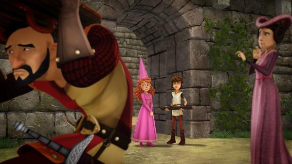 Guinevere und Arthur wundern sich über den Aberglauben auf Schloss Camelot. | Rechte: SWR/Blue Spirit Productions/TéléTOON+/Canal+